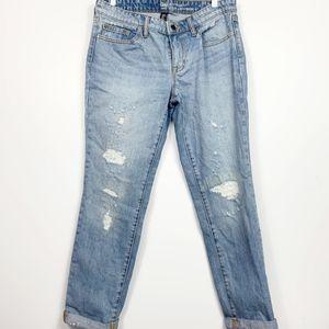 Gap Distressed Boyfriend jeans 6 EUC light denim